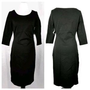 NWT Liz Lange Sz S Black 3/4 Sleeve Midi Dress